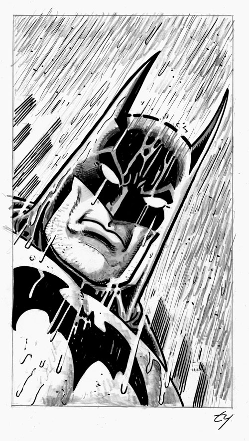 batman xmas rain sketch web