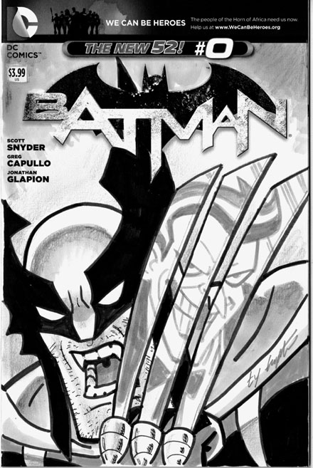 A familiar idea that a fan asked me to reproduce for him.  Yes, it's flipped over...again that was a request.  I haven't drawn a Dark Claw cover yet that's not based on an existing cover, since the official cover was taken from a B:TAS promotional poster.