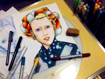 This illustration was drawn and coloured by instructor Meg Kearney, using copics.