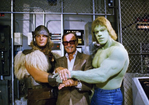 Stan the Man coaches The Hulk and Thor on how to be larger than life, in this rare photo from the early 60s, when the heroes would routinely visit the Marvel offices for story conferences.