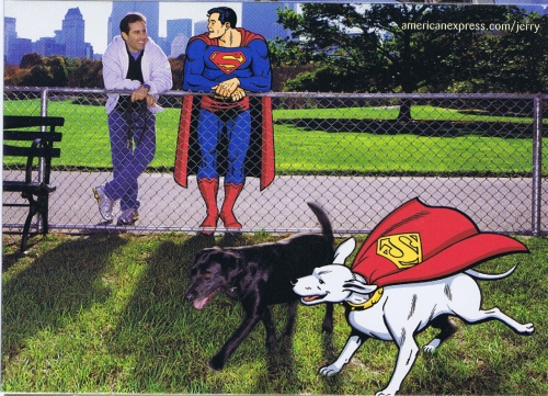 Superman and Jerry bond over their dogs.