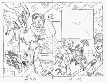 Bill the Boy Wonder - layout - villains spread sketch
